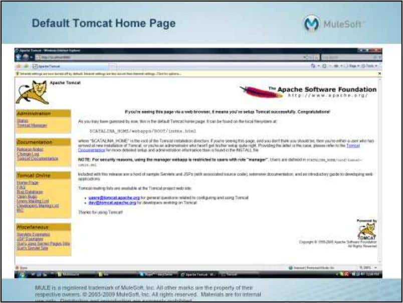 "Note the categories of links on the left hand side of the home page: ""Administration"","