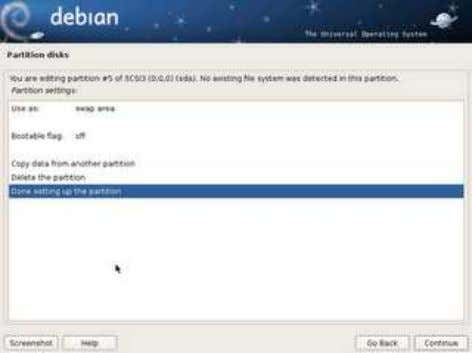 Klik Finis partitioning and wr ite change to disk -> continue hasilnya yes : untuk