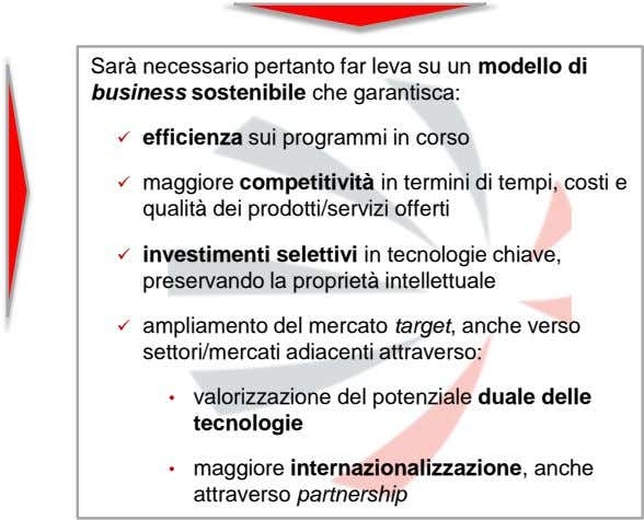 Sarà necessario pertanto far leva su un modello di business sostenibile che garantisca:  efficienza