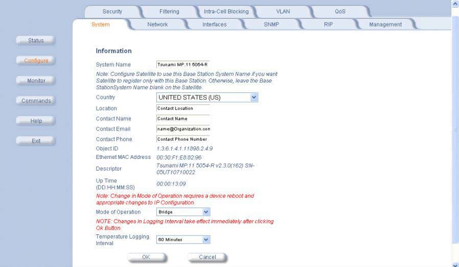 number. The following screenshot is for information only. Country and Related Settings The unit's Configure System