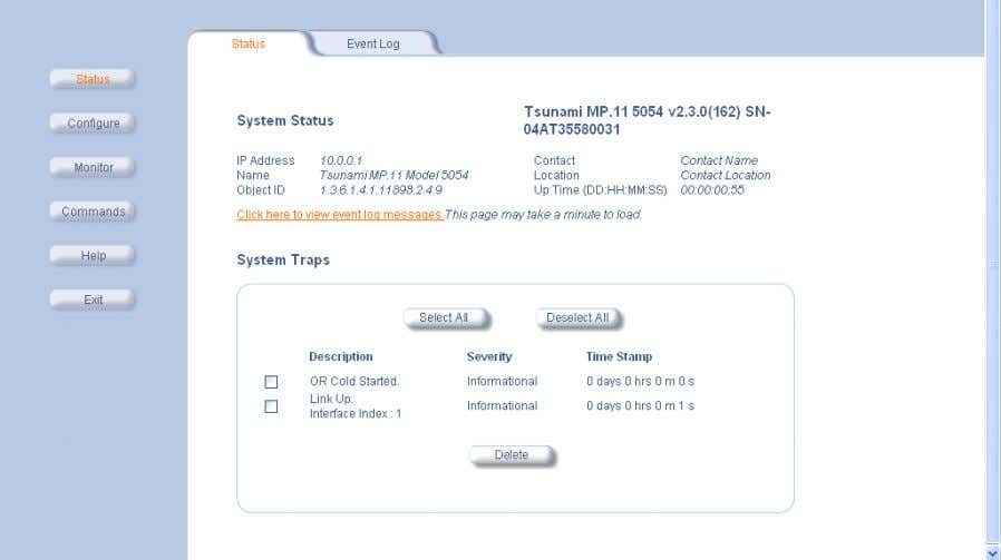 tab shows the System Status and the System Traps . System Status The basic system status