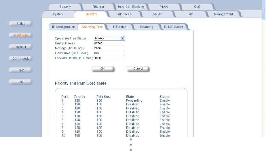 the Spanning Tree tab to change Spanning Tree values. Click Edit Table Entries to make changes;