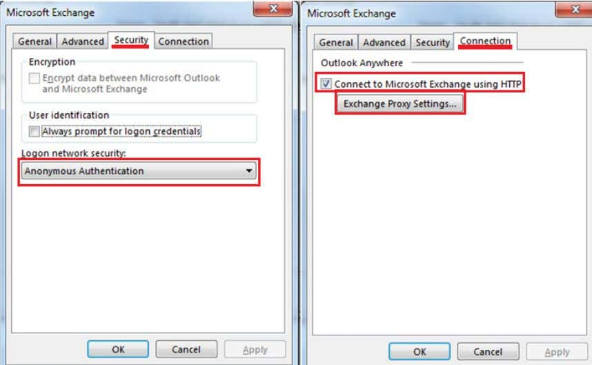 (válida, quando se acede por por 'Outlook Web App') Selecionando 'Exchange Proxy Settings', no ecrã
