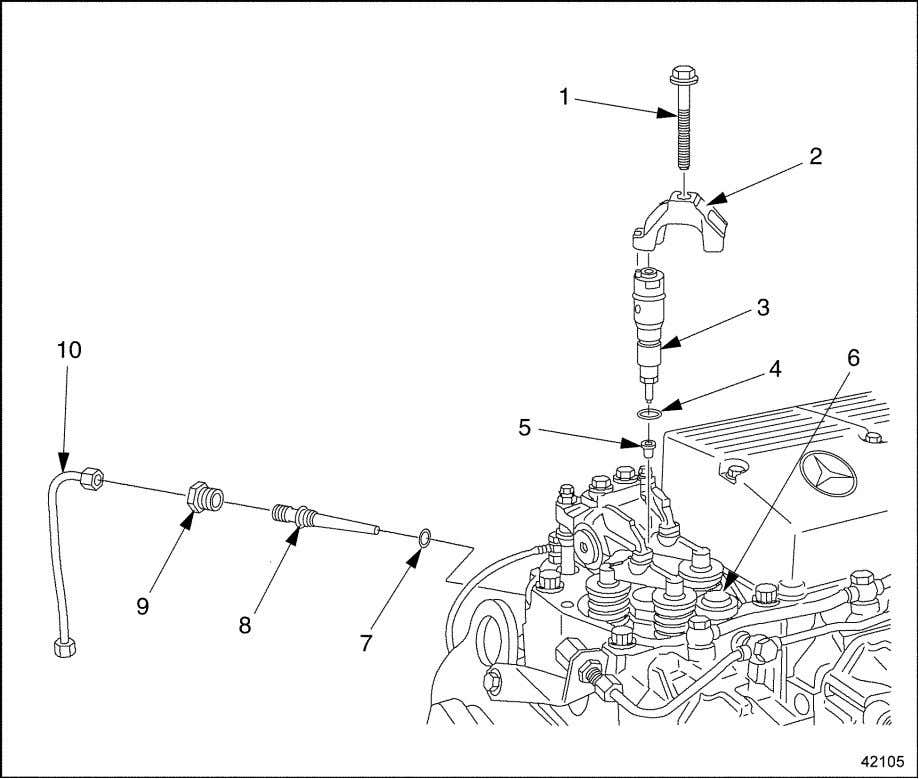the injector line. See Figure 2-14. Refer to section 2.3.1. 1. Retaining Bolt 2. Tensioning Arm