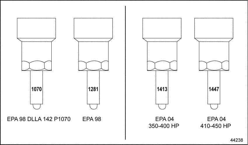 number for the EPA 98 and EPA 04 engines. See Figure 2-20. Figure 2-20 Injector Nozzle