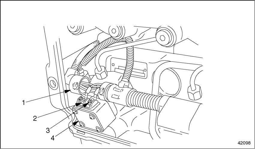 wiring harness from the injector unit pump. See Figure 2-2. 1. Engine Wiring Harness 2. Terminal
