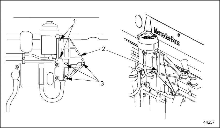 housing from the mounting bracket. Refer to section 2.10.1. 1. Fuel Filter-to-Bracket Mounting Bolts 2. Fuel