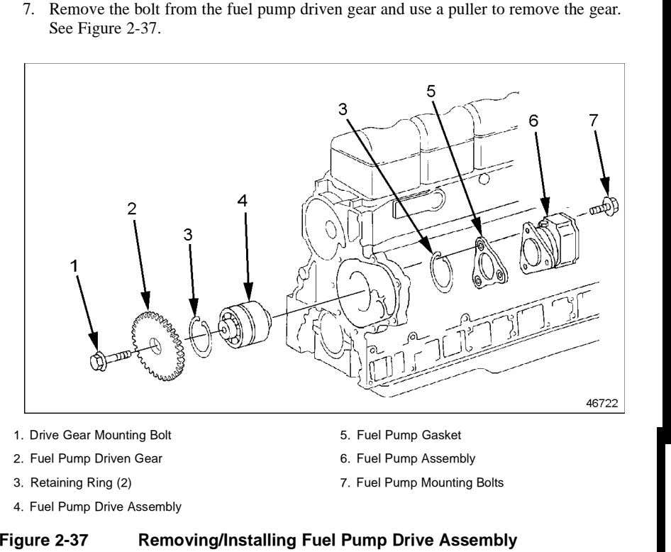 7. Remove the bolt from the fuel pump driven gear and use a puller to