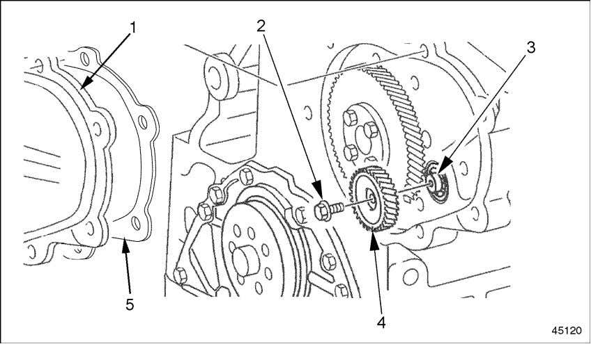 bolt and use a puller to remove the gear. See Figure 2-43. 1. Camshaft Gear Cover