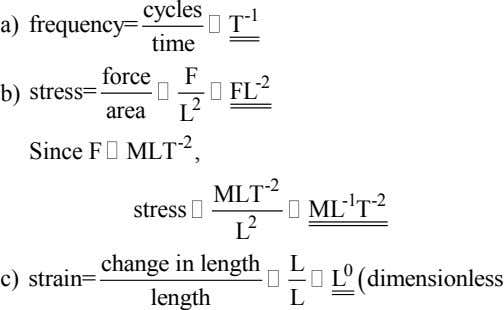 cycles a) frequency= T -1 time force F -2 b) stress= FL 2 area L