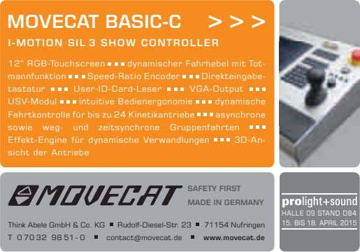 "MOVECAT BASIC-C > > > I-MOTION SIL 3 SHOW CONTROLLER 12"" RGB-Touchscreen dynamischer Fahrhebel mit"