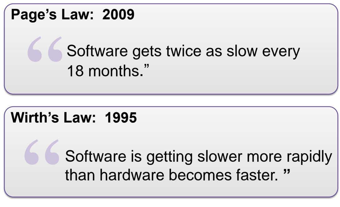 "Page's Law: 2009 Software gets twice as slow every 18 months."" Wirth's Law: 1995 Software"