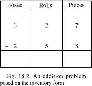 Boxes Rolls Pieces 3 2 7 + 2 5 8 Fig. 18.2. An addition problem