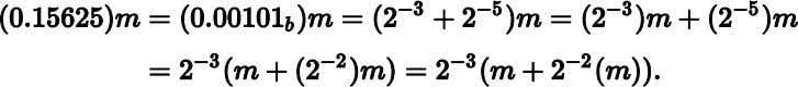 to find the product of two numbers, (0.15625) and m : Method To find the product