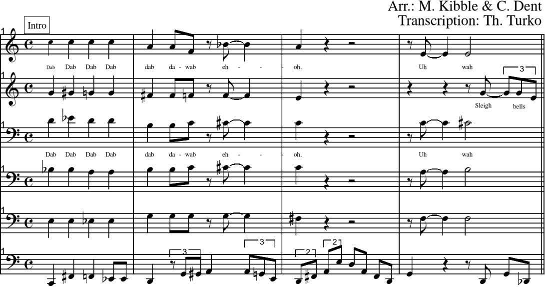 Arr.: M. Kibble & C. Dent Transcription: Th. Turko Intro 1 c œ œ œ