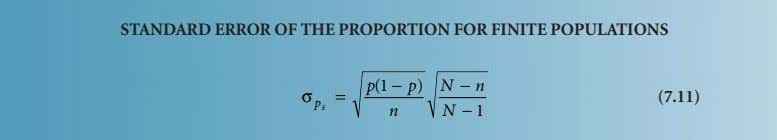 STANDARD ERROR OF THE PROPORTION FOR FINITE POPULATIONS p (1 − p ) N − n