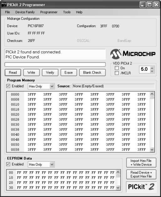 User's Guide FIGURE 2-1: PICkit™ 2 PROGRAMMING SOFTWARE 2.3.1 Connecting to the Device The PICkit™ 2