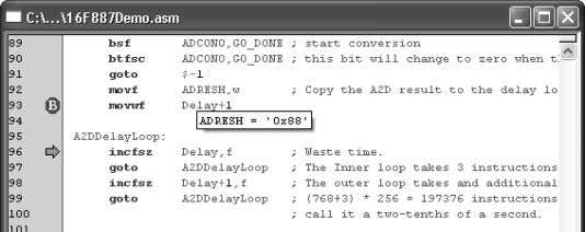 Programmer User's Guide FIGURE 4-22: ADRESH REGISTER VALUE 6. Adjust the POT and continue the program