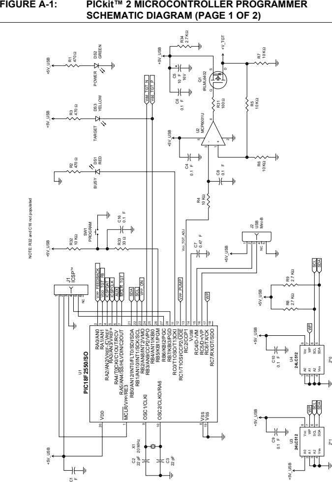 FIGURE A-1: PICkit™ 2 MICROCONTROLLER PROGRAMMER SCHEMATIC DIAGRAM (PAGE 1 OF 2) NOTE: R32 and