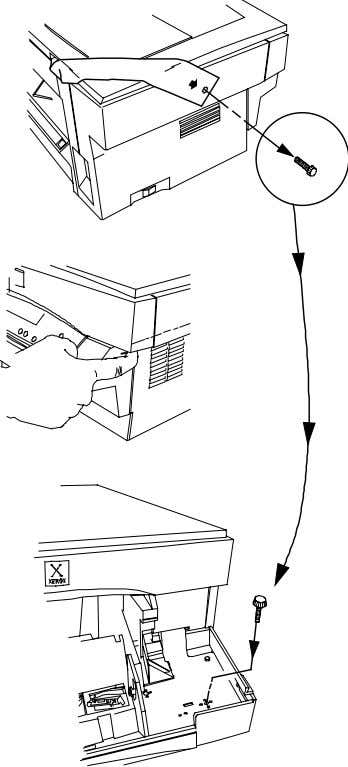 Removing the Shipping Screw DO NOT FORCE THE DOCUMENT COVER. THE WORKCENTRE WILL MALFUNCTION IF THE