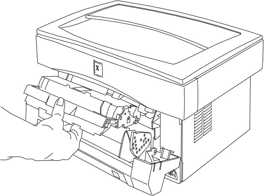 Push firmly until the toner cartridge is fully seated and the handle springs slightly back. 6.