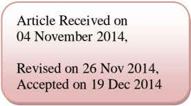 Article Received on 04 November 2014, Revised on 26 Nov 2014, Accepted on 19 Dec