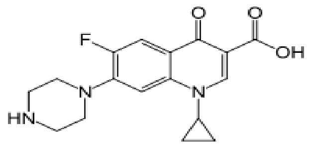 example for masking the bitterness of this drug. [ 8 ] Figure 1. Structure of Ciprofloxacin