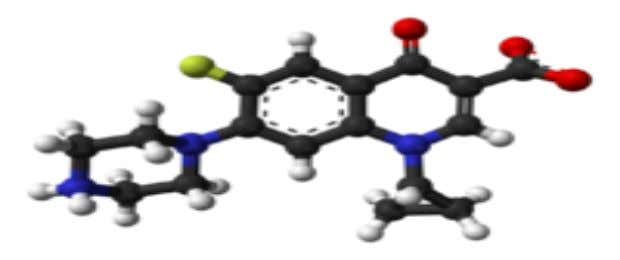 of this drug. [ 8 ] Figure 1. Structure of Ciprofloxacin Figure 2. 3D Structure of