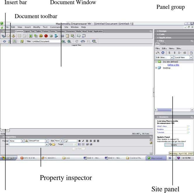 Insert bar Document Window Panel group Document toolbar Property inspector Site panel