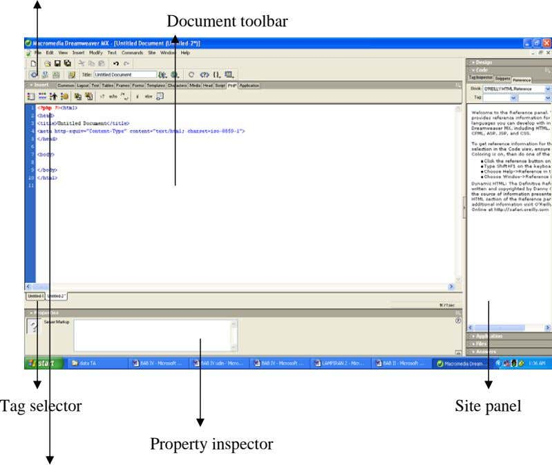 Document toolbar Tag selector Site panel Property inspector