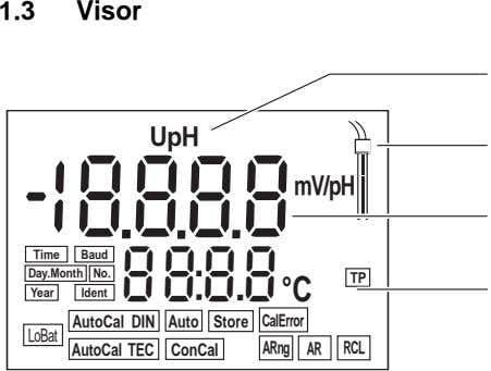 1.3 Visor ISE UpH S 1 8888 mol/L mV/pH %ppm mg/L Time Baud °F Day.Month