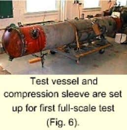 installation or during subsequent testing. Test procedures Test vessel and comp ression sleeve are set up