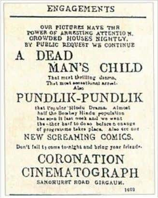 Advertisement in The Times of India of 25 May 1912 announcing the screening of the