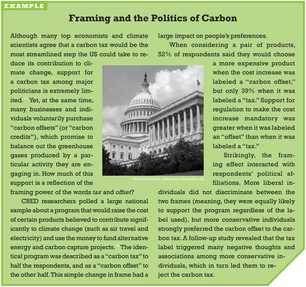example framing and the Politics of Carbon although many top economists and climate scientists agree