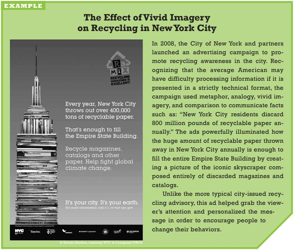 example The Effect of vivid Imagery on Recycling in new York City in 2008, the
