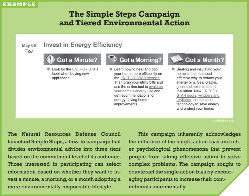 example The Simple Steps Campaign and Tiered Environmental Action Invest in Energy Efficiency May 06