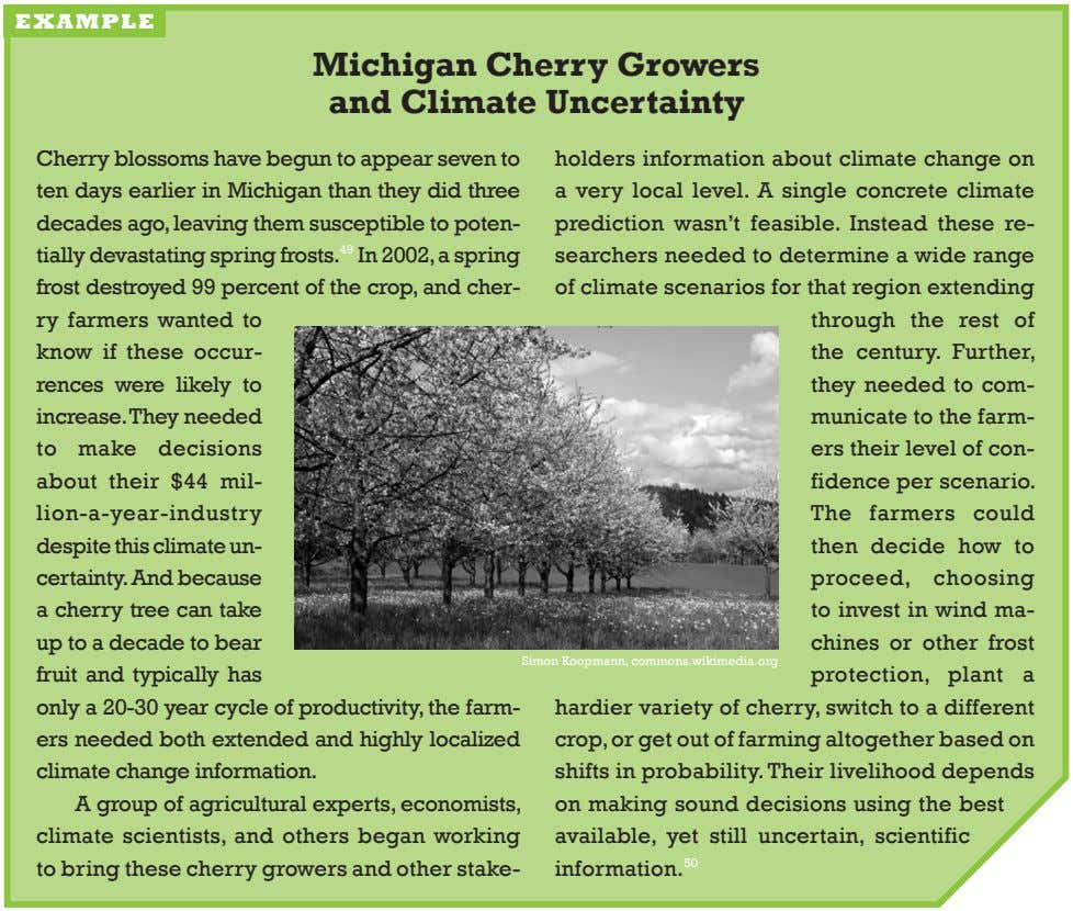 example michigan Cherry Growers and Climate uncertainty cherry blossoms have begun to appear seven to