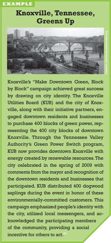 "example knoxville, Tennessee, Greens up knoxville's ""make downtown green, block by block"" campaign achieved"