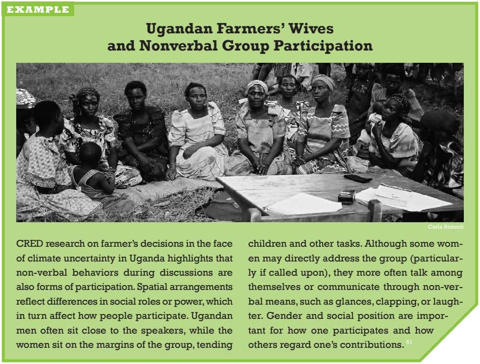 example ugandan farmers' wives and nonverbal Group Participation carla roncoli cred research on farmer's decisions