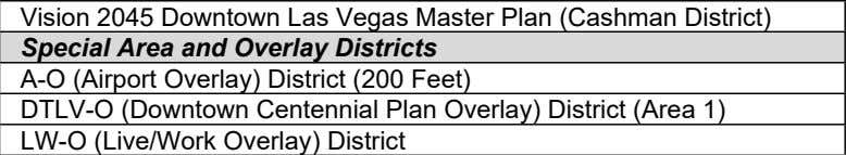 2045 Downtown Las Vegas Master Plan (Cashman District) Y Special Area and Overlay Districts Compliance A-O