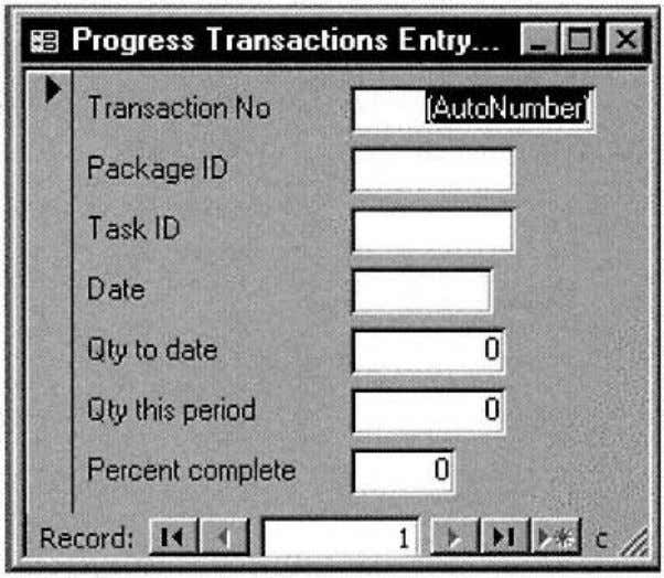to date field. The Modern Project system converts this number into a Figure 3-5. Progress Transactions