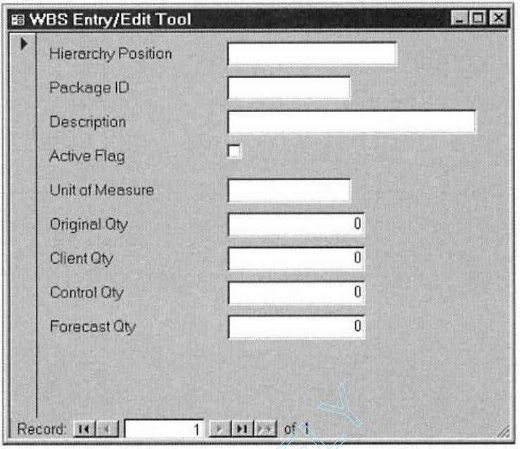 Page 29 Figure 2-4. The WBS Entry/Edit Tool. hierarchy position indicators as 0, 1, 2, 3,