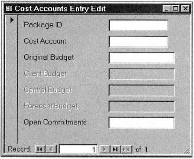 Page 51 Figure 2-15. Cost Accounts Entry/Edit form. ect management uses to communicate the original cost