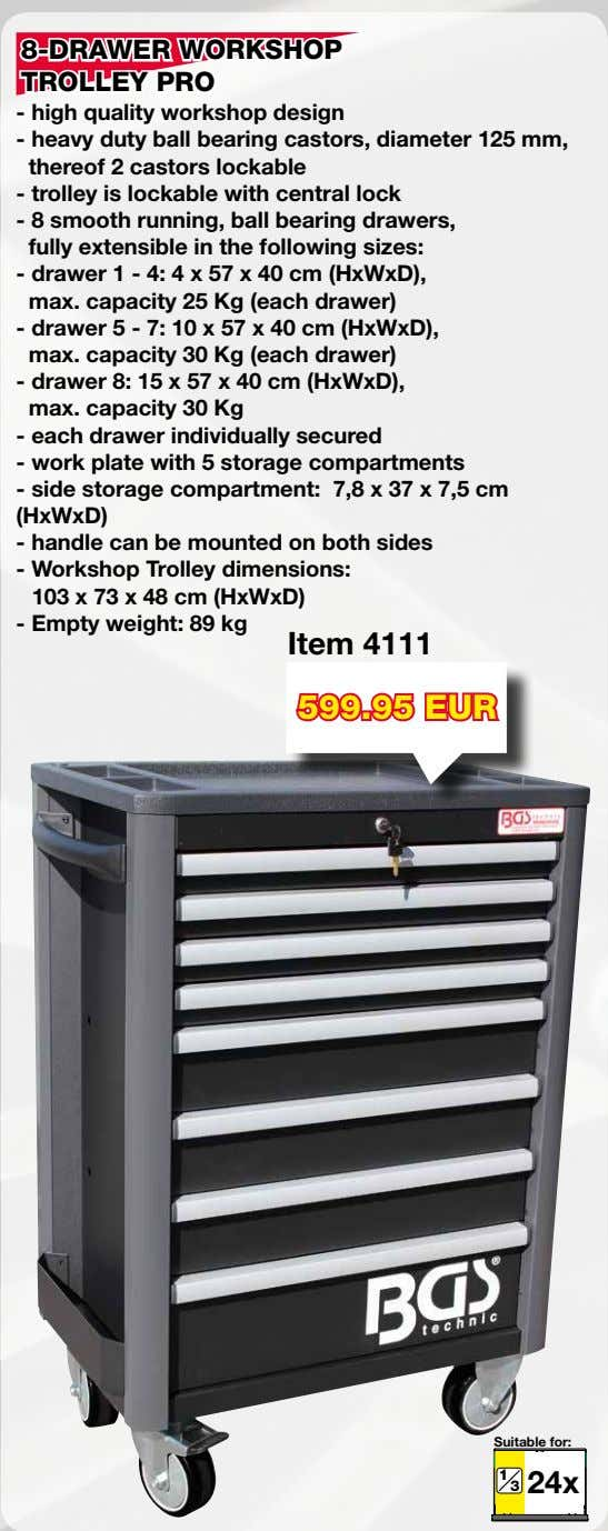 8-DRAWER WORKSHOP TROLLEY PRO - high quality workshop design - heavy duty ball bearing castors,