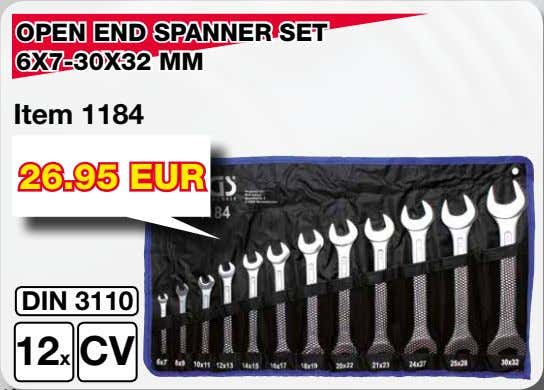 OPEN END SPANNER SET 6X7-30X32 MM Item 1184 26.95 EUR DIN 3110 12x CV