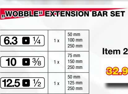 """WOBBLE"" EXTENSION BAR SET 50 mm 1 x 100 mm 250 mm 75 mm 1"