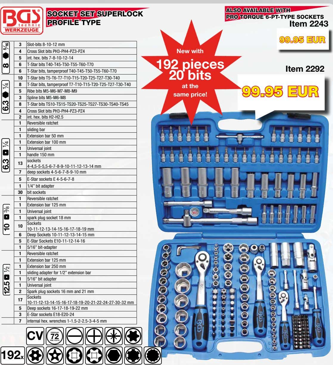 ALSO AVAILABLE WITH SOCKET SET SUPERLOCK PRO TORQUE 6-PT-TYPE SOCKETS PROFILE TYPE Item 2243 99.95