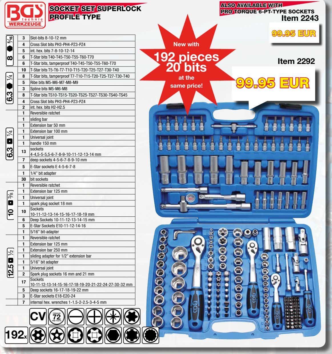 hex. wrenches 1-1.5-2-2.5-3-4-5 mm CV 192x 8 5 16 REVERSIBLE RATCHET Item 318 Item 319 Item