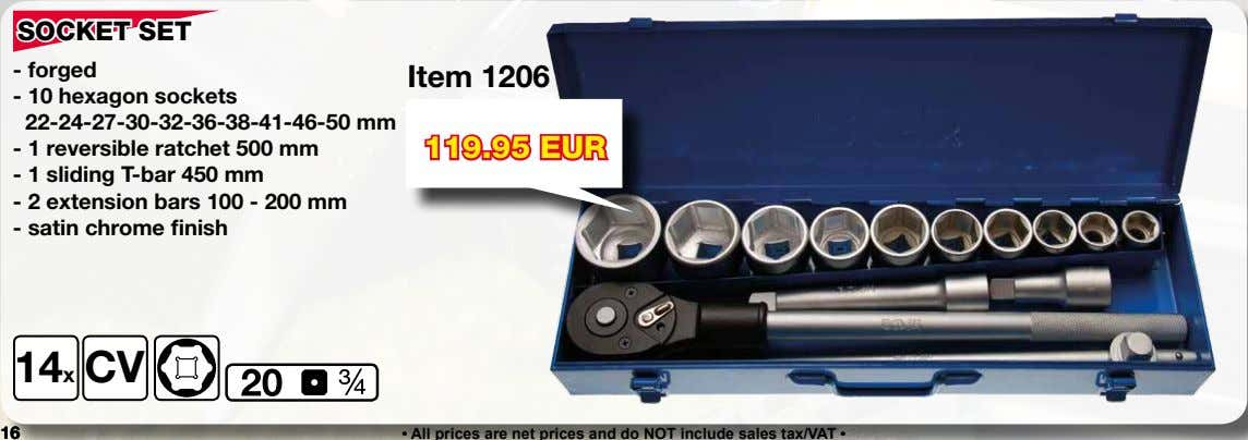 SOCKET SET - forged Item 1206 - 10 hexagon sockets 22-24-27-30-32-36-38-41-46-50 mm - 1 reversible