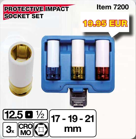 Item 7200 PROTECTIVE IMPACT SOCKET SET 19.95 EUR 17 - 19 - 21 3x mm